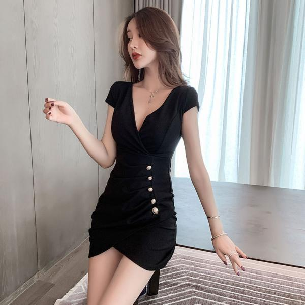 Sexy Dark V Neck Mini Irregular Bodycon Party Dress