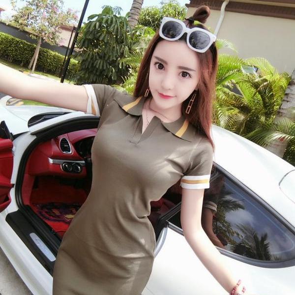 Sexy Army Green Short sleeve Bodycon Mini Dress