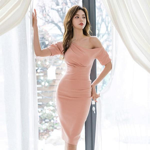 Sexy One Shoulder Short Sleeve Party Mid Pink Dress