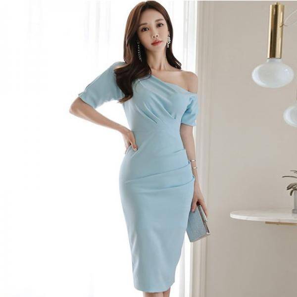 Sexy One Shoulder Short Sleeve Party Mid Blue Dress