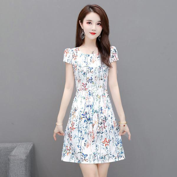 Sexy White Print Short Sleeve Bodycon Dress