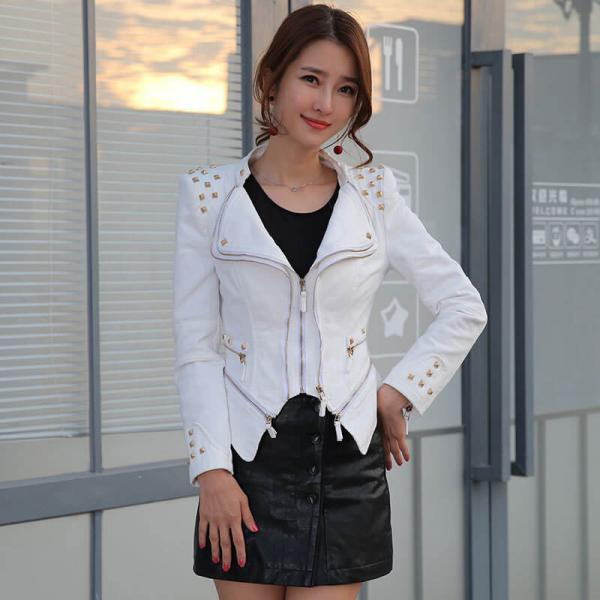 White Denim Rivet Studded Jacket