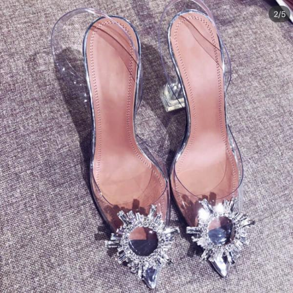 Summer PVC Rhinestone Point Toe High Heels
