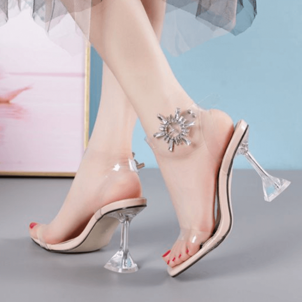 Apricot PU PVC Square Toe Embellished High Heel Sandals