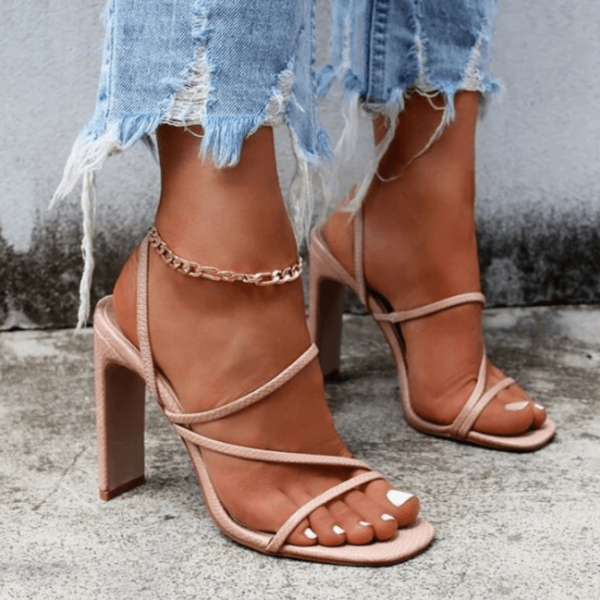 Pink Summer PU Square Toe Chunky Heel Mule Sandals