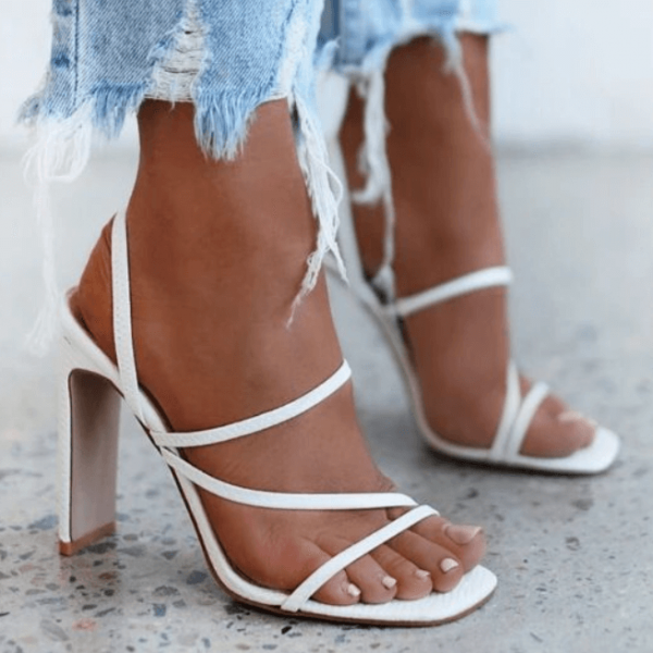 White Summer PU Square Toe Chunky Heel Mule Sandals