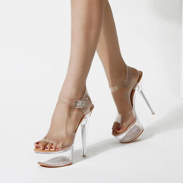 PVC Platform Open Toe Transparent High Heel Sandals
