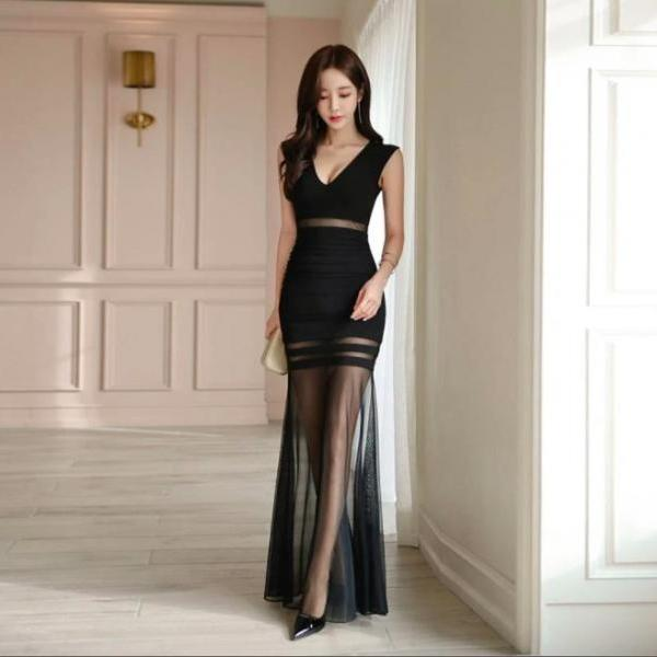 Sexy Lace Sleeveless Party Long Dress