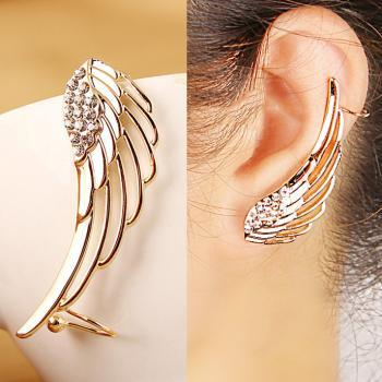 Golden Wing Ear Clip Punk Earring