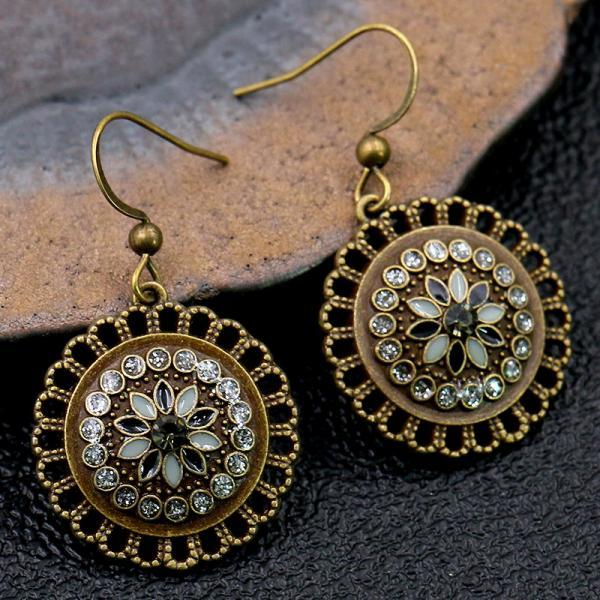 Retro ethnic style geometric round flower oil dripping Diamond Earrings
