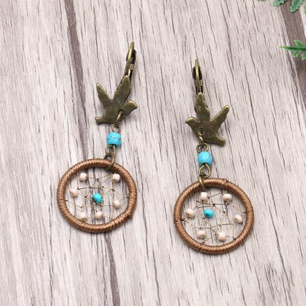 Bohemian fashion hand woven dreamnet bird alloy Pendant Earrings