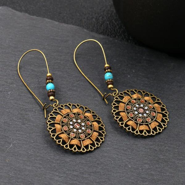 Alloy Earrings Handmade rope flower geometric round oil dropping rice ball earrings
