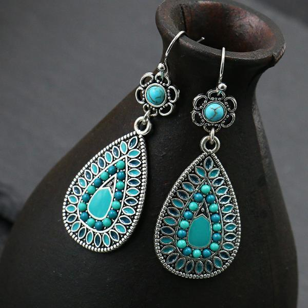 Water drop alloy earrings rice beads flower drop Turquoise women's Retro earrings earrings