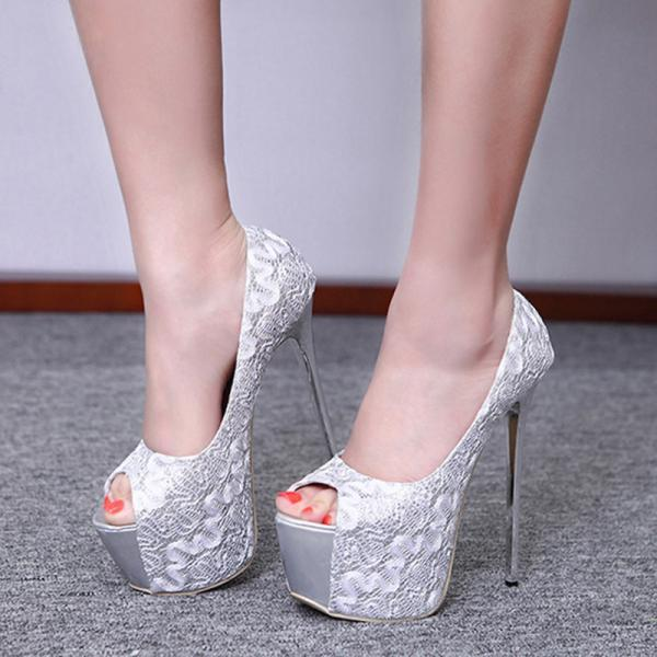 Sequin fish mouth waterproof platform sandals-Silvery
