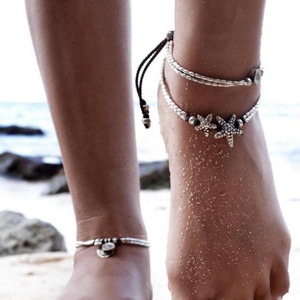 National retro style starfish runwen om Yoga pendant foot chain beach foot ring-1