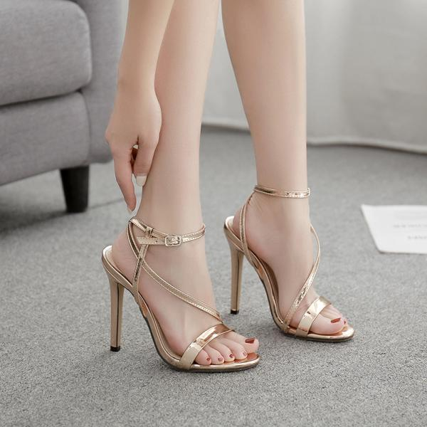 Champagne One Line High Heel Sandals