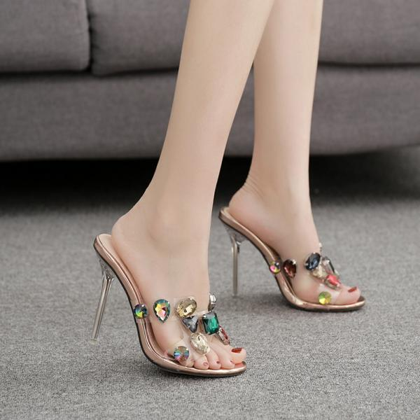 Colorful Rhinestone Crystal slippers-Champagne