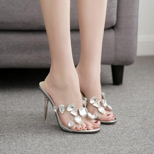 Colorful Rhinestone Crystal slippers-Silvery