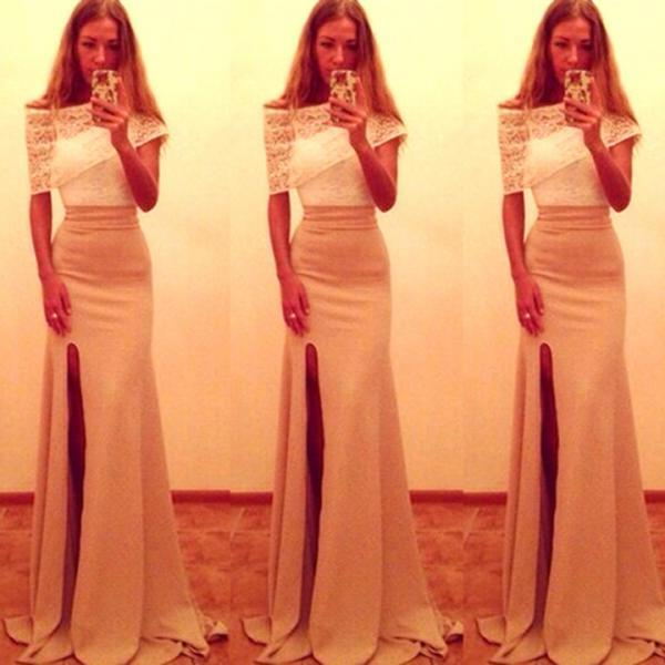 Off Shoulder Two-Piece Slit Long Dress