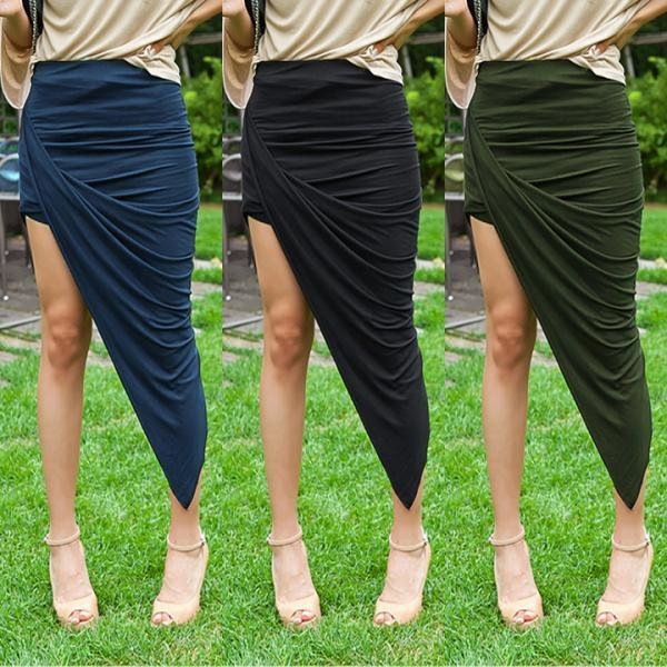 Banded Waist Draped Asymmetrical Skirt