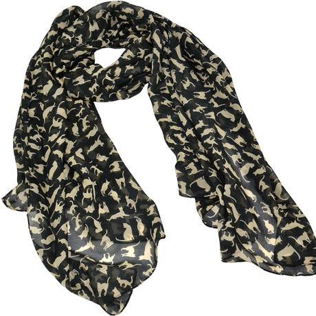 Chiffon Cat Pattern Long Scarf