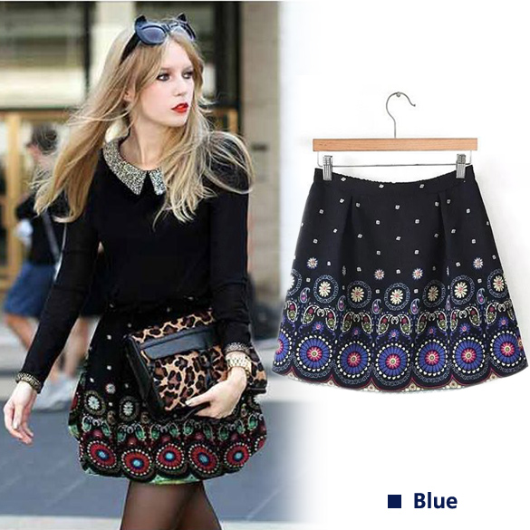 Flower Retro Printed Skirt