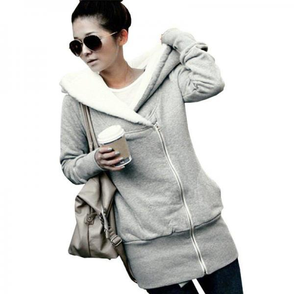 Korean Women Zip Fleece Warm Hoodie