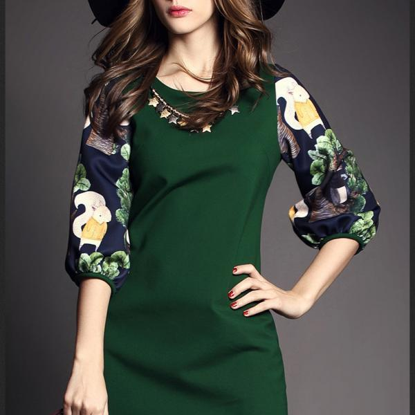 Plus Size Print 3/4 Sleeves Dress