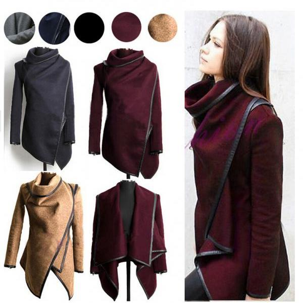 Long Irregular Thickening Woolen Jacket Overcoat