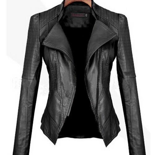 Turn Down PU Leather Womens Jacket