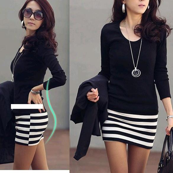 Zeagoo Stylish Lady Women's Fashion Casual Long Sleeve Sexy Bodycon Slim Mini Dress