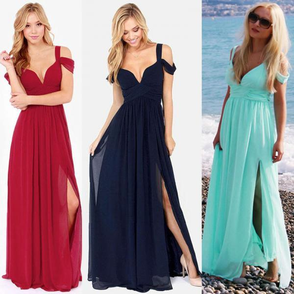 Deep V-neck Plus Size Chiffon Split Off-Shoulder Pleated Long Maxi Beach Dress