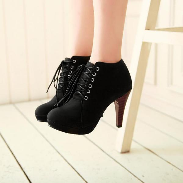 Lace Up Round Toe Stiletto High Heel Ankle Boots