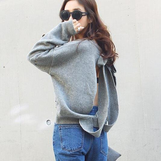 Backless Bow Tie Hollow Knit Pullover Sweater