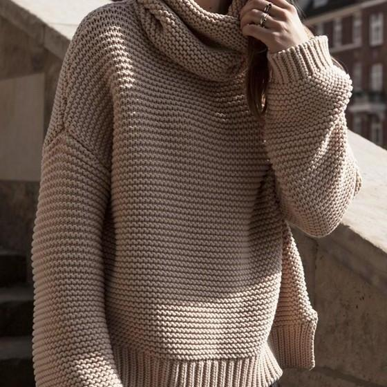 High Collar Pullover Pure Color Knit Sweater
