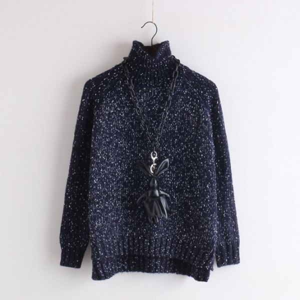 Polka Dot Pullover Knit Half High Collar Sweater