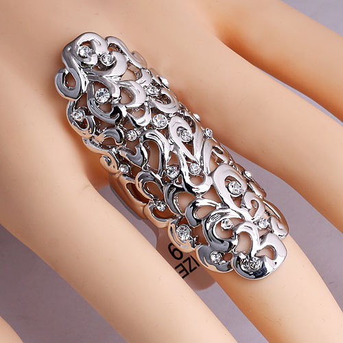 European and American foreign trade big flowers long hot punk hollow ring