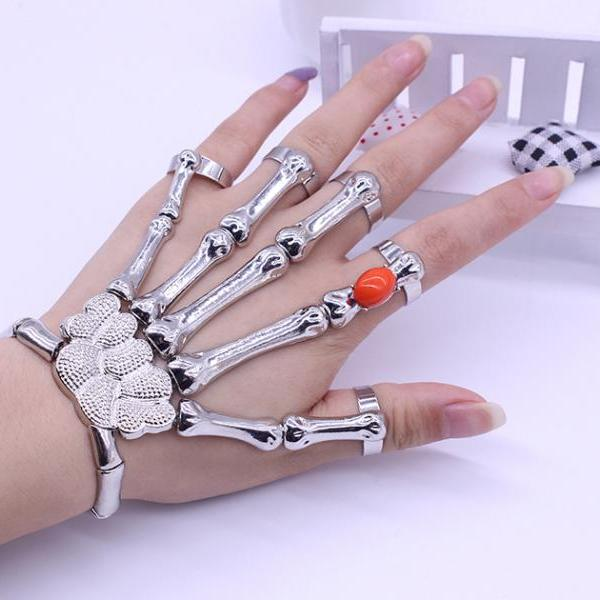 Europe and the United States retro exaggerated punk wind skeleton hand bone Ruby bracelet ring