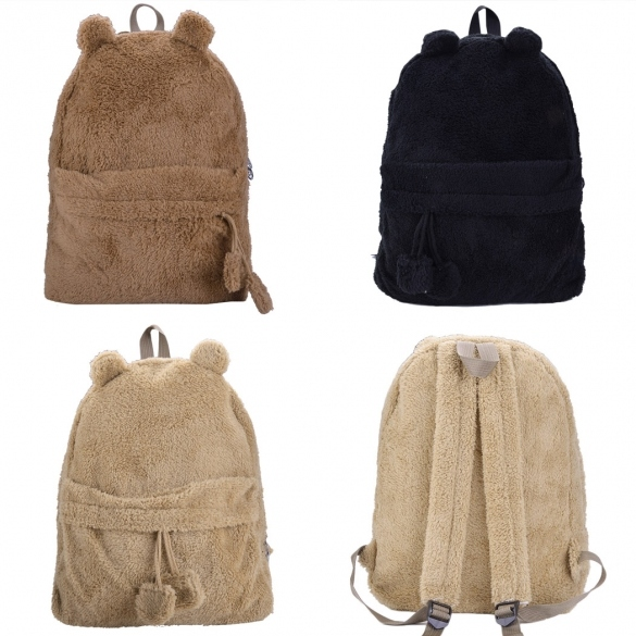 Hot Women's Young Cute Plush Bag Backpack College Campus Book Bear Backpack