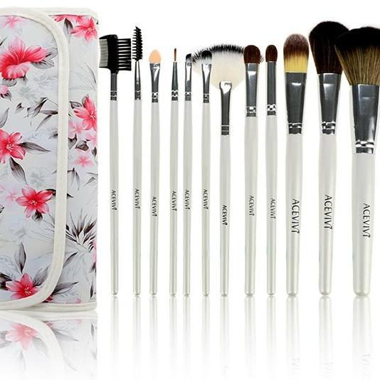 Acevivi Fashion Women's Professional 12pcs Soft Cosmetic Tool Makeup Brush Set Kit With Floral Printed Pouch