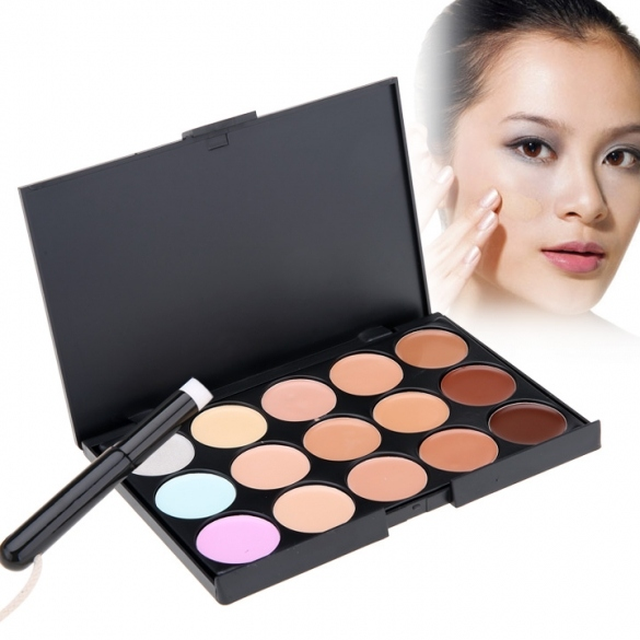 New Stylish Women's Makeup Cosmetics Tools Set 15 Colors Creamy Concealer Kit And 1 Brush