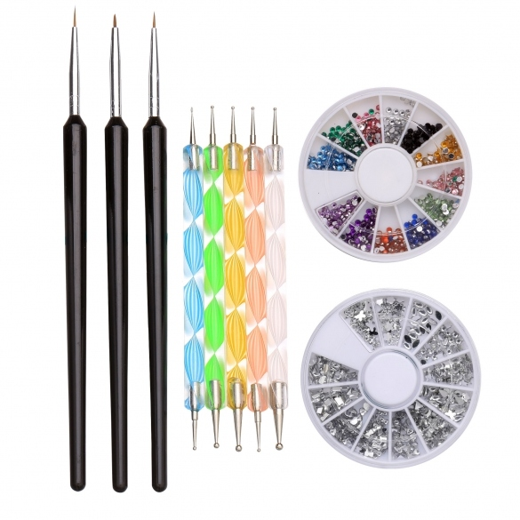 Professional Nail Art Painting Pen Dotting Tools Nail Glitter Rhinestones Decorations Set