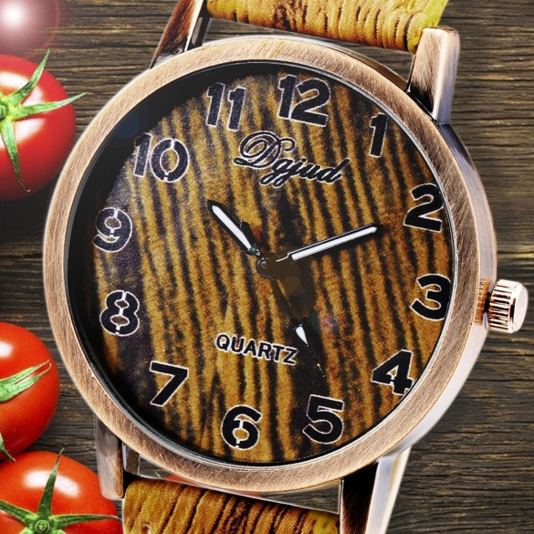 Vintage Style Women Analog Wooden Synthetic Leather Watchband Quartz Casual Watch Wristwatch
