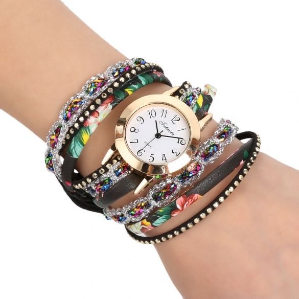 Women's Multi-Strap Bracelet Watch Round Dial Quartz Wrap Wristwatch