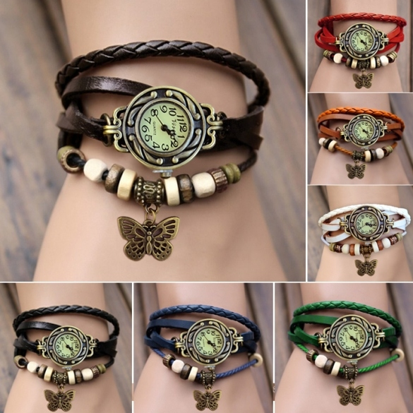 Women Leather Wrist Watch Bracelet Retro Butterfly Pendant Weave Wrap Quartz