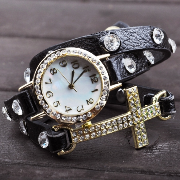 Women Cross Bracelet Watch Quartz Movement Wrist Watch