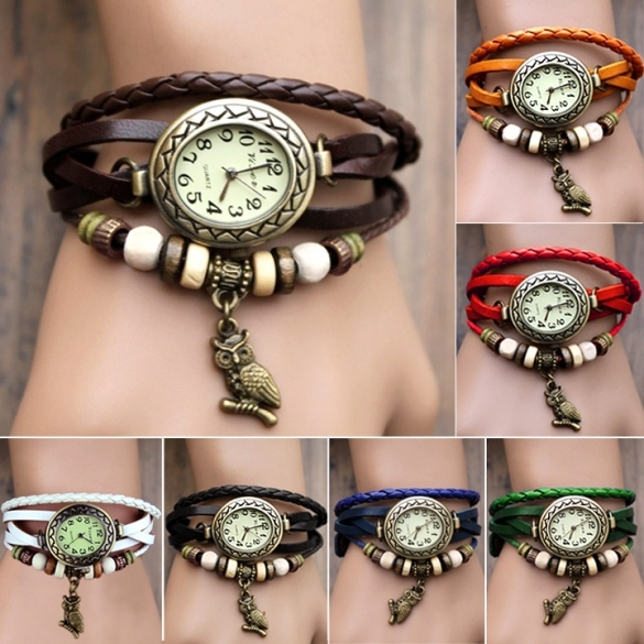Women Leather Wrist Watch Bracelet Retro Owl Pendant Weave Wrap Quartz