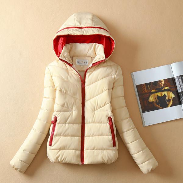 Patchwork Short Slim Fashion Hooded Down Coat