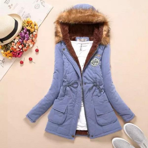 Wool Hood Long Slim Big Pocket Mid-length Coat