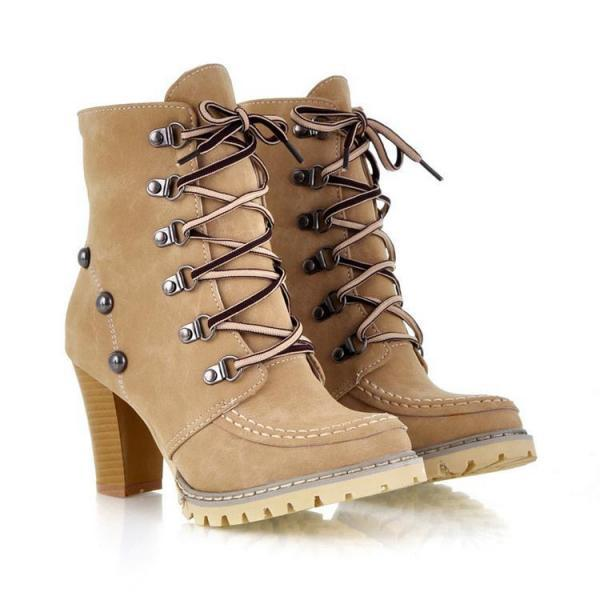 Cool Rivet Wood High-Heeled Knight TPR Boots